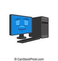 コンピュータ, isolated., 睡眠, pc, ベクトル, 睡眠, モード, style., 眠ったままで, 漫画, データプロセッサ
