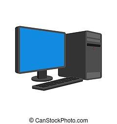 コンピュータ, isolated., style., pc, ベクトル, 漫画, データプロセッサ