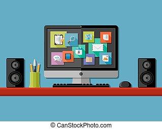 コンピュータ, workplace., 平ら, デザイン