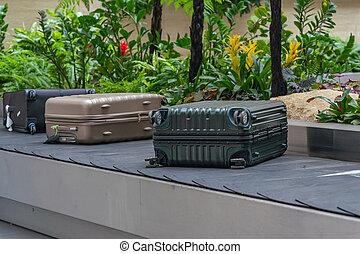 コンベヤー, スーツケース, 美しい, 手荷物, ベルト, changi, ∥あるいは∥, 空港