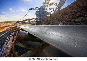 コンベヤー, 鉱石, 輸送, 長い間, ベルト