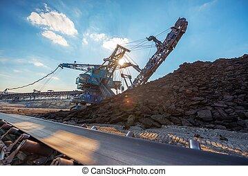 コンベヤー, 長い間, 輸送, 鉱石, ベルト