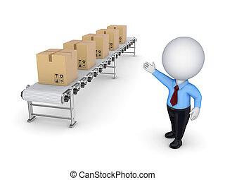 コンベヤー, boxes., 人, ポイント, 小さい, カートン, 3d