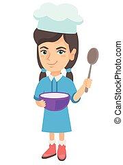 コーカサス人, 女の子, spoon., ソースパン, 保有物