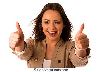 コーカサス人, 女, 成功, ビジネス, 提示, preety, アジア人, ジェスチャーで表現する