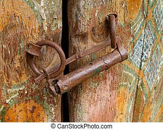コーカサス, 石, 古い, 分解しなさい, 家, ドア, 登山家, 手製, ロックされた, 城