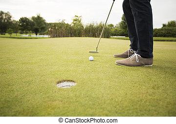 コース, 人, ゴルフ, 若い, 遊び