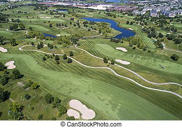 コース, 光景, ゴルフ, 航空写真