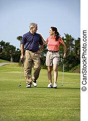 コース, 恋人, ゴルフ, 歩くこと