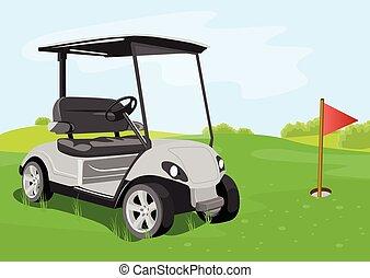 コース, 旗, ゴルフ カート