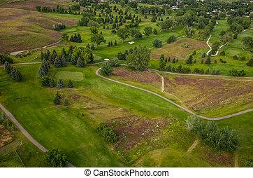 コース, 航空写真, ゴルフ