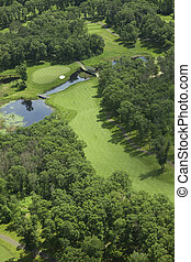 コース, 航空写真, ゴルフ, 光景