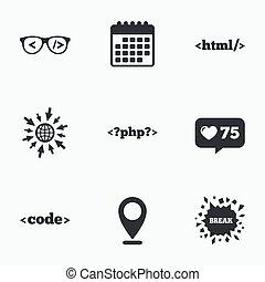 コーダー, markup, language., glasses., html, プログラマー