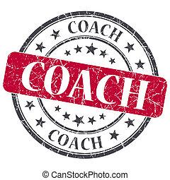 コーチ, グランジ, 切手, 型, 隔離された, textured, 赤