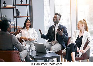 コーチ, ビジネス, リーダー, パートナー, アフリカ, 現代, アメリカ人, 教授, オフィス