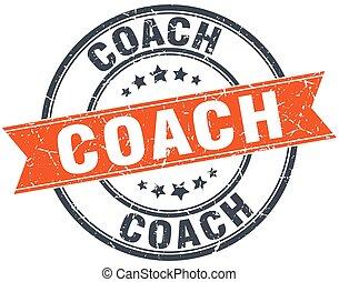 コーチ, 切手, 型, 隔離された, オレンジ, grungy, ラウンド