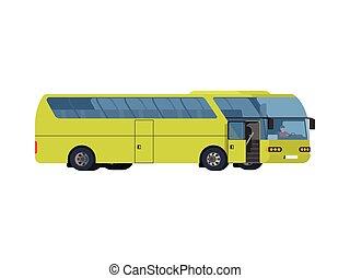 コーチ, 大きい, ライト, 旅行, 緑, バス