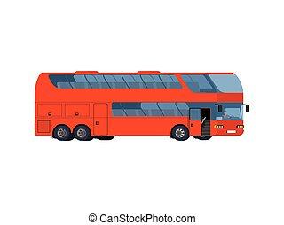 コーチ, 大きい, 旅行 バス, ダブルデッカー, 赤