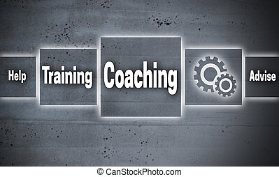 コーチ, 概念, touchscreen, 背景