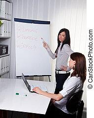 コーチ, 若い, ビジネスの女性たち