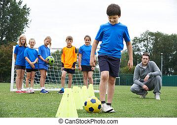 コーチ, 訓練, 屋外, 先導, セッション, サッカー