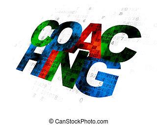 コーチ, concept:, 背景, 勉強, デジタル