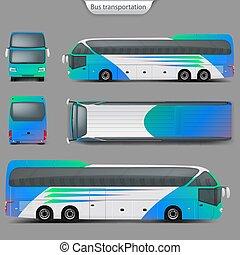 コーチ, mockup, バス, 上, 現実的, 背中, ベクトル, 光景