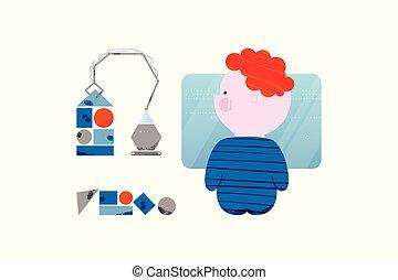 コーディング, コード, machine., デザイン, 電子, かわいい, スタイル, 男の子, 平ら, 訓練, 概念, 子供