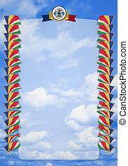 コート, フレーム, 腕, イラスト, 旗, ボーダー, seychelles., 3d