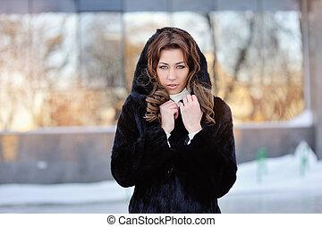 コート, 女, 毛皮, 冬