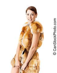 コート, fashion., 女, 毛皮, 冬