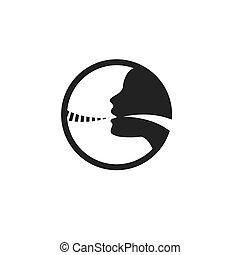コード, イメージ, イラスト, 人, ベクトル, 声, アイコン