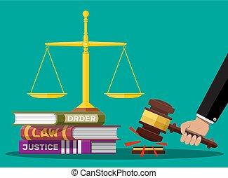 コード, スケール, 本, 正義, 裁判官, 法律, gavel.