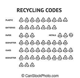 コード, セット, 矢, アイコン, リサイクル, 隔離された, イラスト, ラベル, ベクトル, テンプレート, リサイクルしなさい, 白