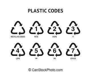 コード, セット, backgound, 隔離された, イラスト, プラスチック, ベクトル, リサイクルしなさい, 白
