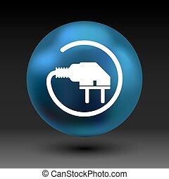 コード, プラグ, 力, アイコン, ベクトル, 電気の出口