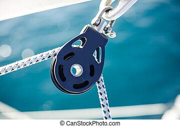 コード, ヨット, ロープ, クローズアップ, クランク, ホールダー