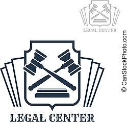 コード, 中心, 法的, ベクトル, 小槌, 法律, アイコン