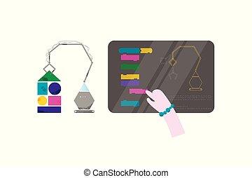 コード, 平ら, 訓練, 概念, ラップトップ, コーディング, スタイル, 手, machine., デザイン, 赤ん坊, 電子, 子供