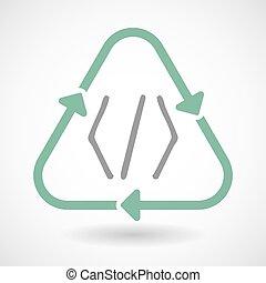 コード, 芸術, 印, リサイクルしなさい, 線, アイコン