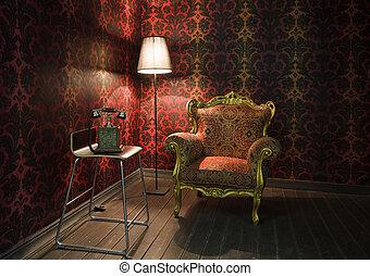 コーナー, の, ∥, 部屋, ∥で∥, 赤, 壁紙, 床 ランプ, そして, armchair., 古い, 電話,...