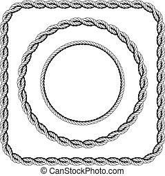 コーナー, フレーム, twisted, ロープ, 円形にされる