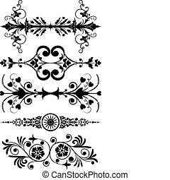 コーナー, ベクトル, 花, デザイン, 要素