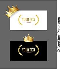 コーナー, 旗, 詳しい, 3d, set., vcard, 王冠, 現実的, ペーパー, 金, ベクトル