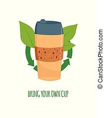 コーヒーカップ, お茶, 使い捨て可能, 休暇, ベクトル, 緑