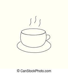コーヒーカップ, お茶, 蒸気, 黒, 線, 白, アイコン