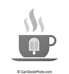 コーヒーカップ, アイコン, クリーム, 氷
