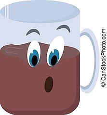 コーヒーカップ, イラスト, バックグラウンド。, ベクトル, 白, 目