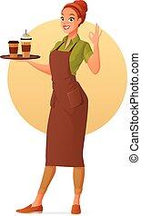 コーヒーカップ, オーケー, barista, 提示, gesture., 氷, 隔離された, バックグラウンド。, 暑い, ベクトル, イラスト, 白, 印, 漫画, ウェートレス
