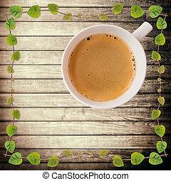 コーヒーカップ, クリーパー, 上, 切り抜き, 板, 植物, 暑い, 木, 緑, 道, 荒い, フレーム, 光景